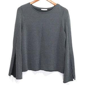 Zara  Size S Gray White Slit Bell Sleeve Top